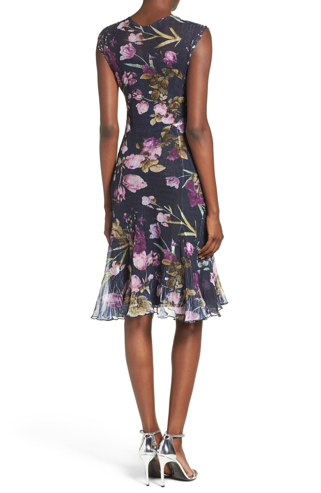 Floral Print Chiffon A-Line Dress,                             Alternate thumbnail 2, color,                             Orchid Plum