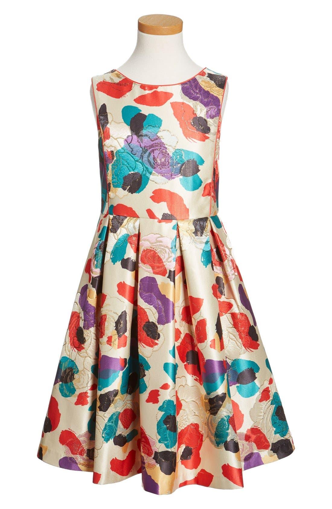 Watercolor Floral Brocade Dress,                             Main thumbnail 1, color,                             Multi Red