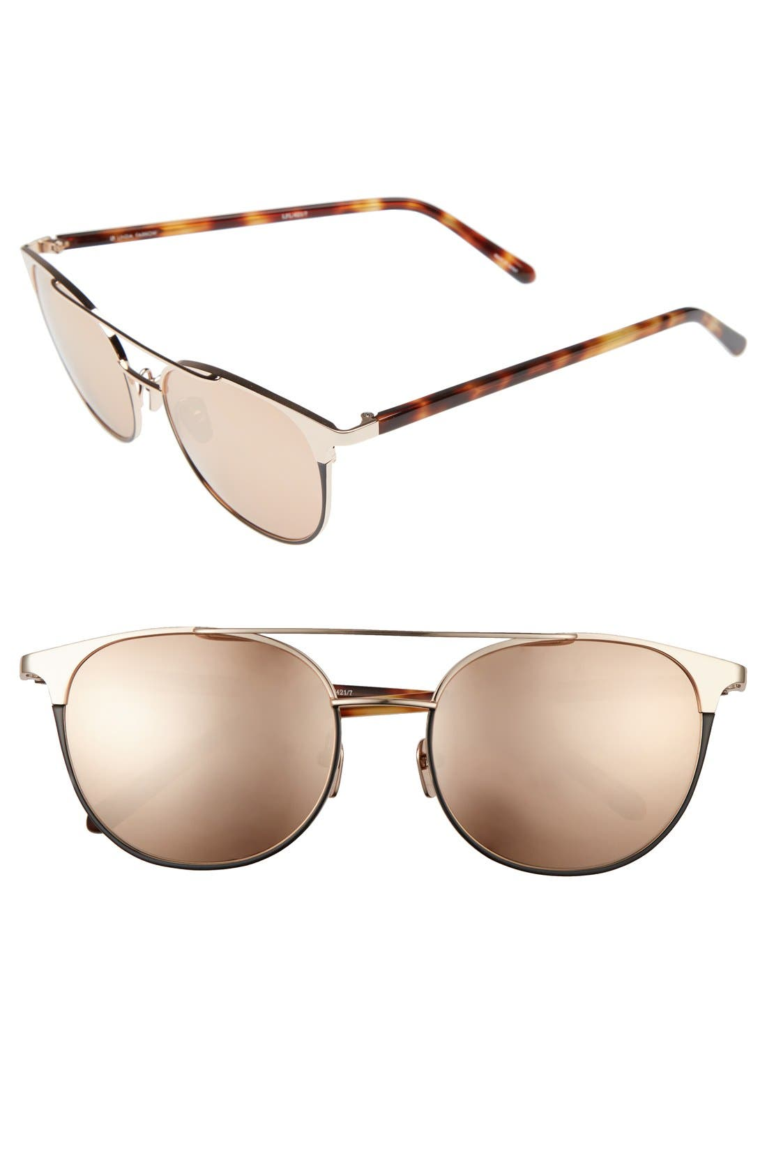 LINDA FARROW 54mm Gold Plated Aviator Sunglasses