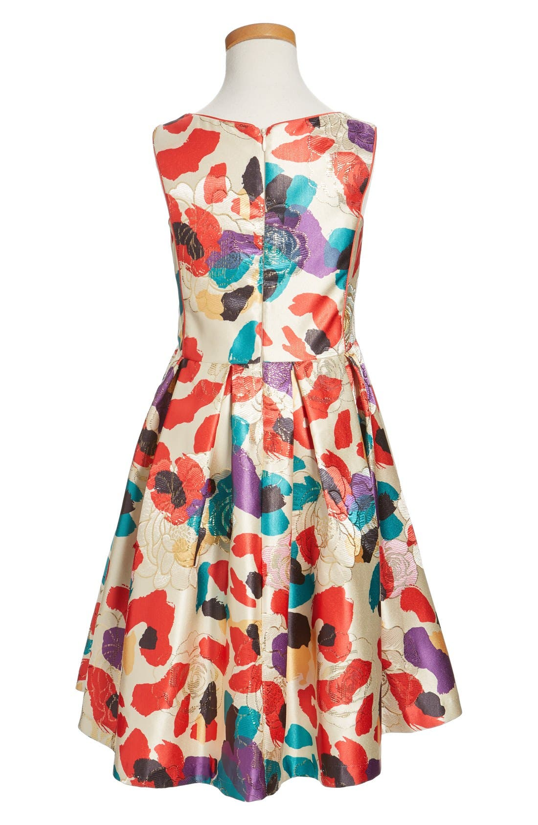 Watercolor Floral Brocade Dress,                             Alternate thumbnail 4, color,                             Multi Red