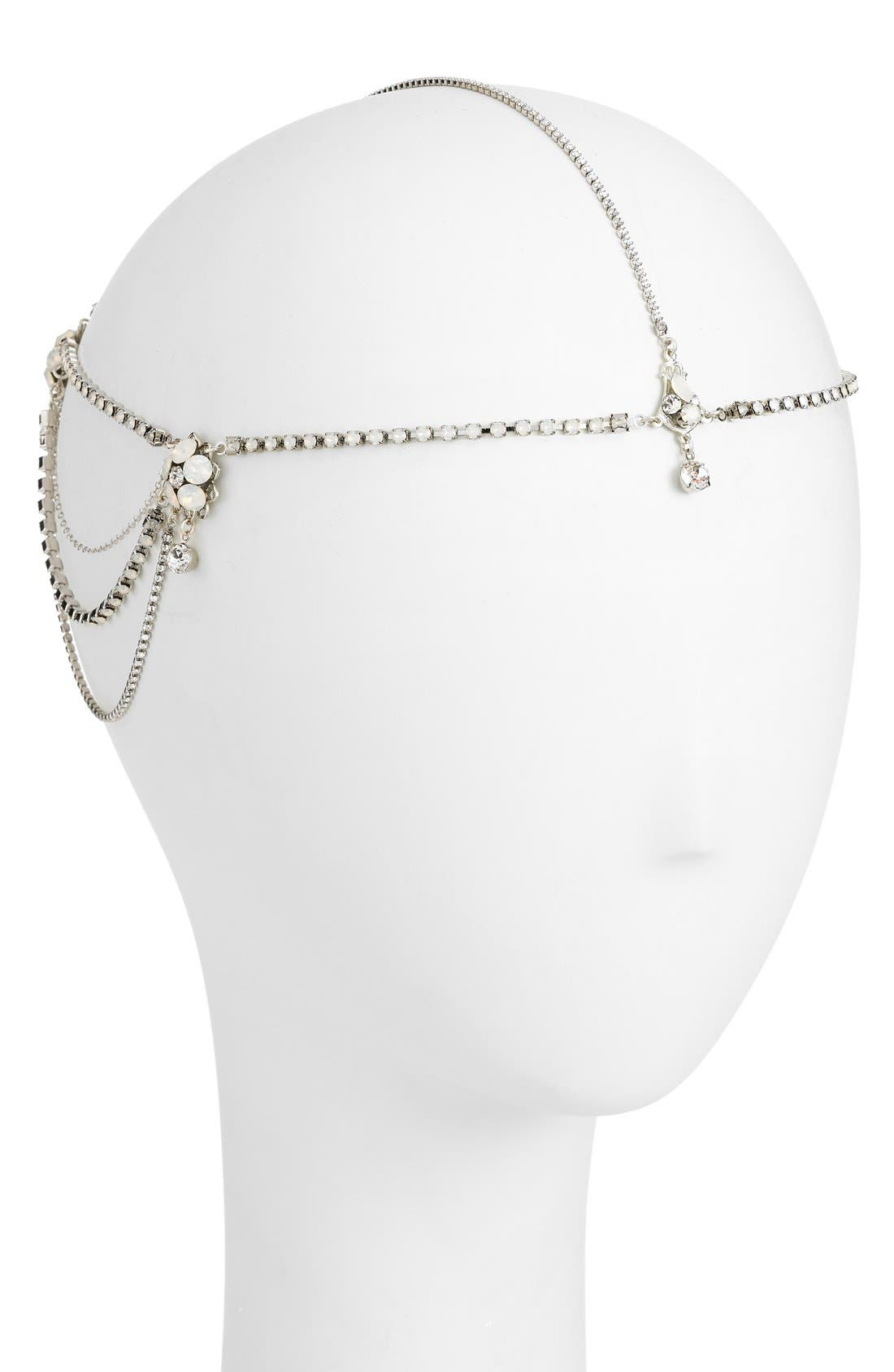 'Madeline' Floral Crystal Hair Chain,                             Alternate thumbnail 4, color,                             Crystal/ White Opal