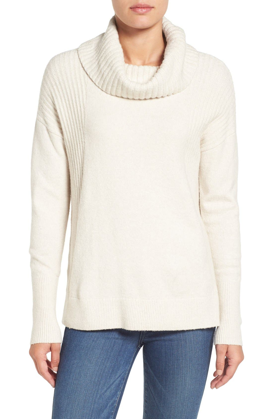 Caslon® Cozy Rib Detail Relaxed Turtleneck (Regular & Petite)