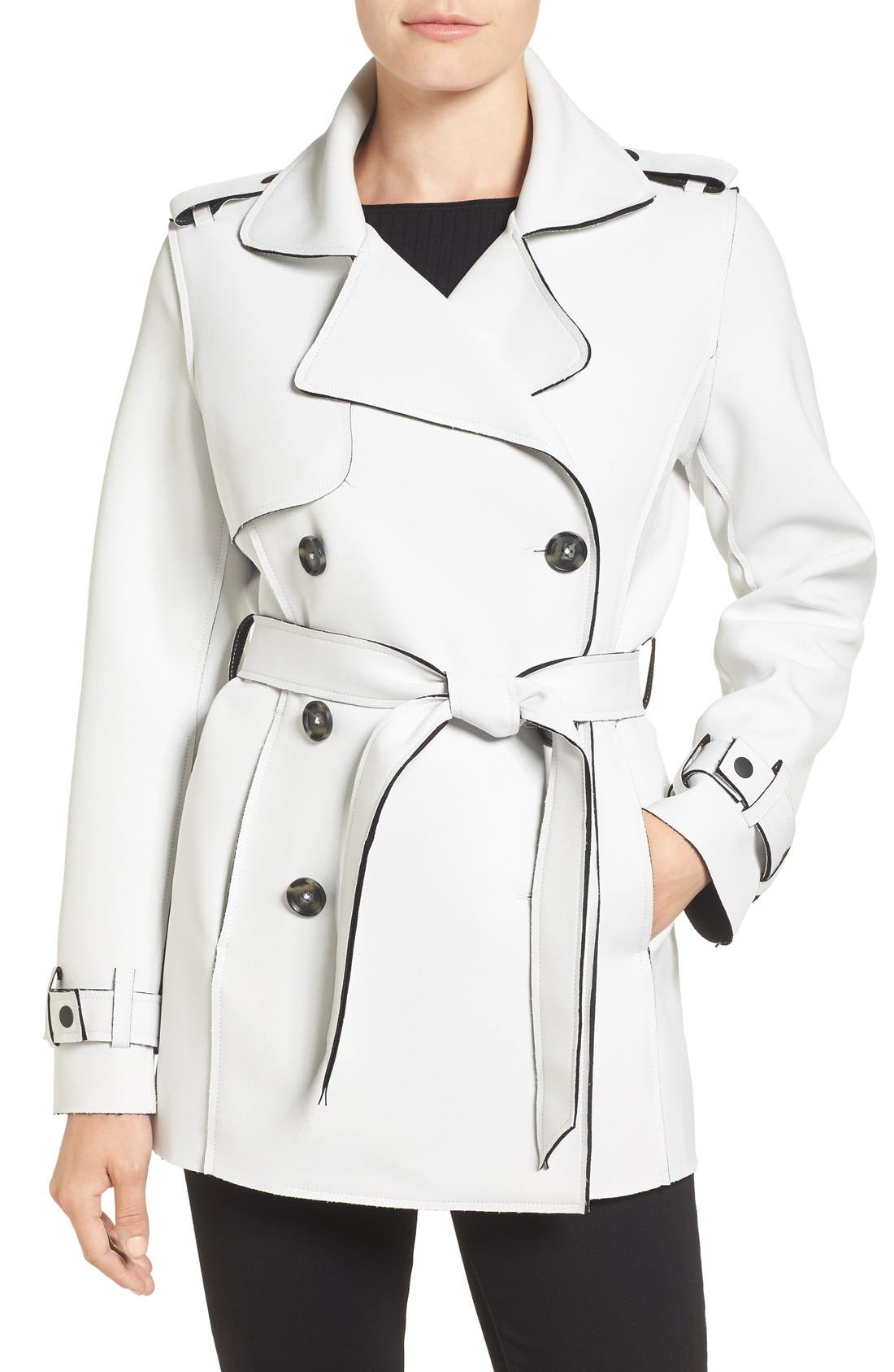 Kristen Blake Raw Edge Short Trench Coat