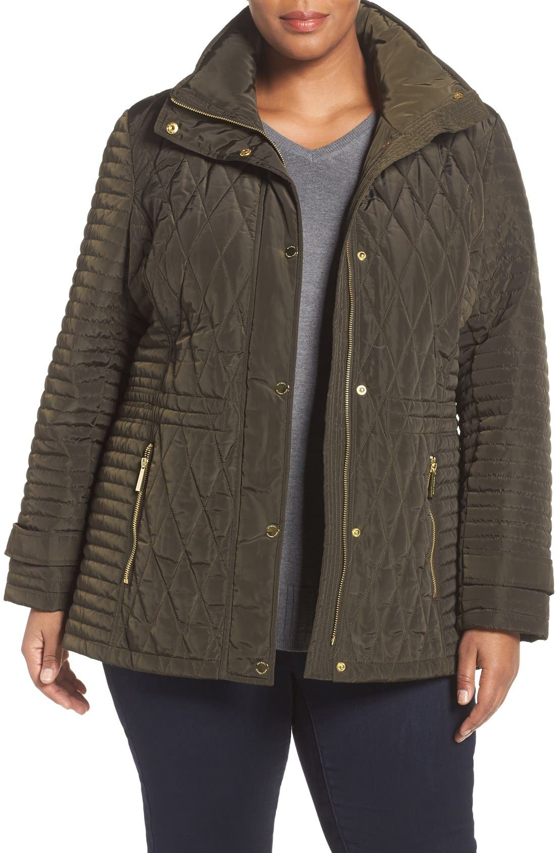 Quilted Jacket,                         Main,                         color, Dark Moss