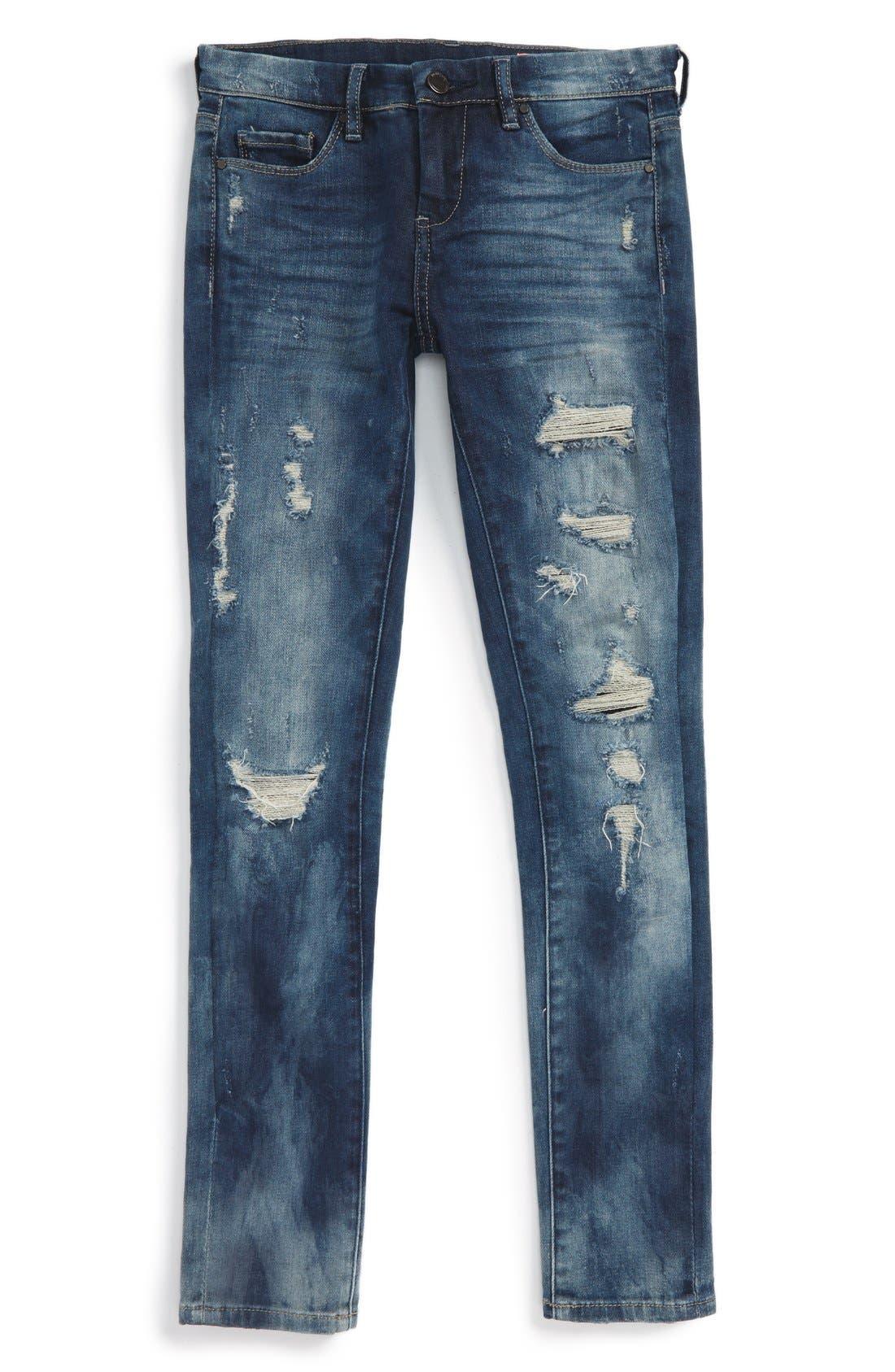 Alternate Image 1 Selected - BLANKNYC Destroyed Boyfriend Jeans (Big Girls)