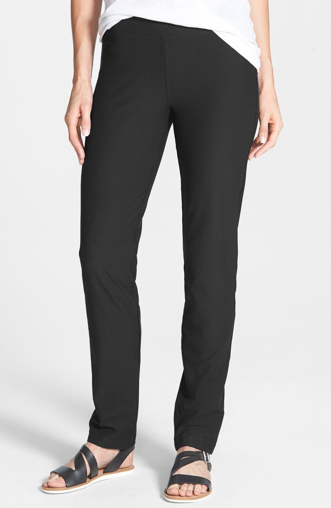 Straight Yoke Slim Crepe Knit Pants,                             Main thumbnail 1, color,                             Black