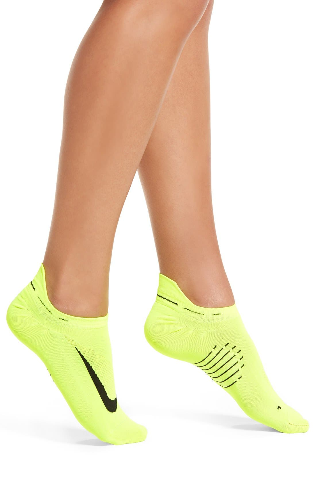 'Elite' No-Show Running Socks,                         Main,                         color, Volt/ Black