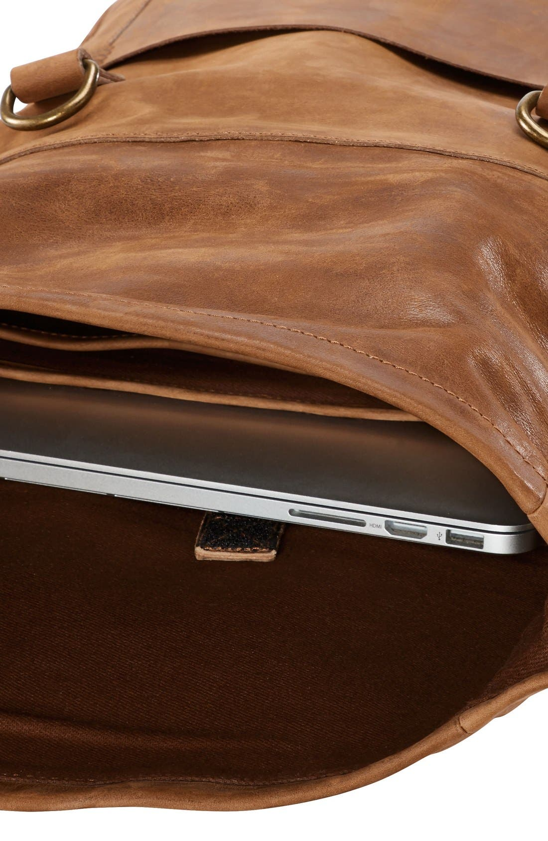 'Walnut Hill' Leather Backpack,                             Alternate thumbnail 4, color,                             Barn