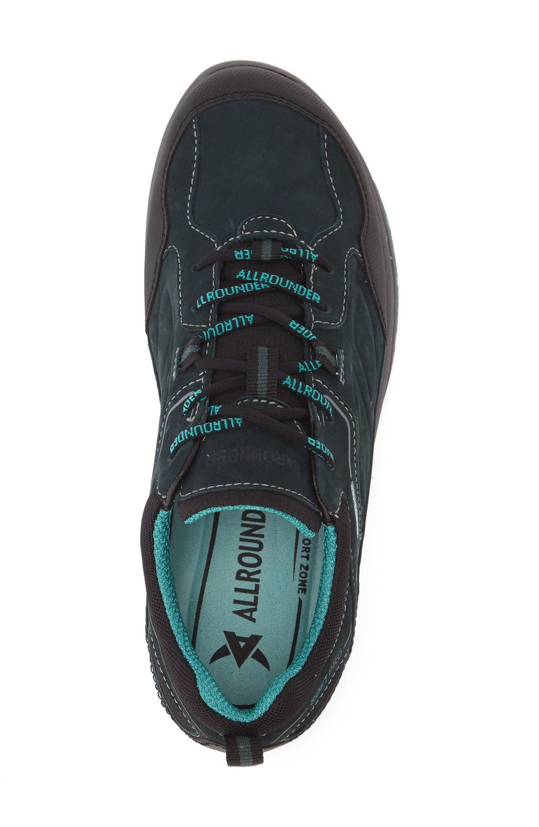 'Dascha Tex' Waterproof Sneaker,                             Alternate thumbnail 3, color,                             Black/ Olive Nubuck Leather