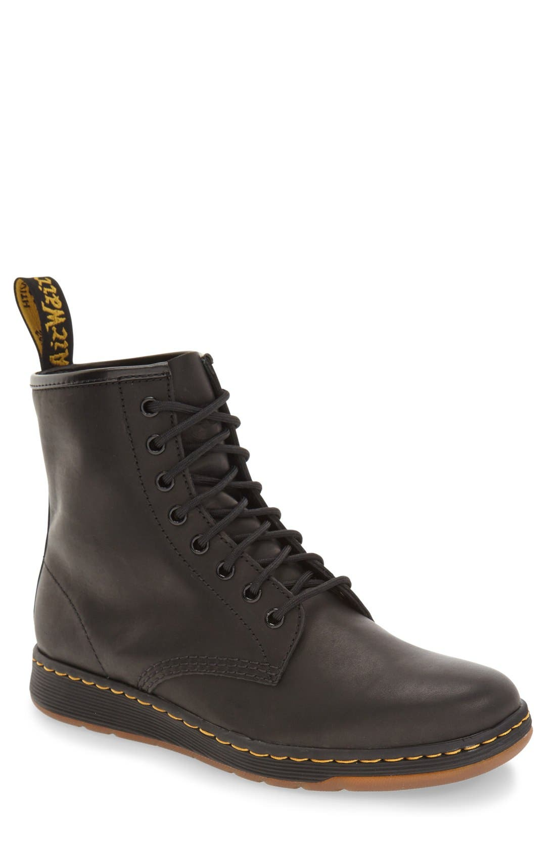 'Newton' Boot,                         Main,                         color, Black Leather