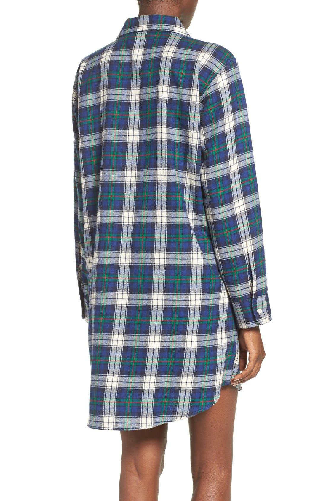 Plaid Woven Sleep Shirt,                             Alternate thumbnail 2, color,                             Plaid Cream/ Blue/ Green