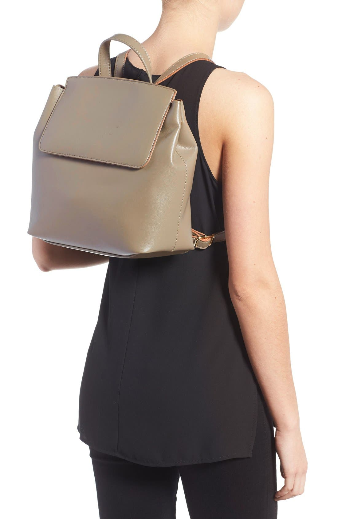 'Minimal Flap' Faux Leather Backpack,                             Alternate thumbnail 3, color,                             Taupe