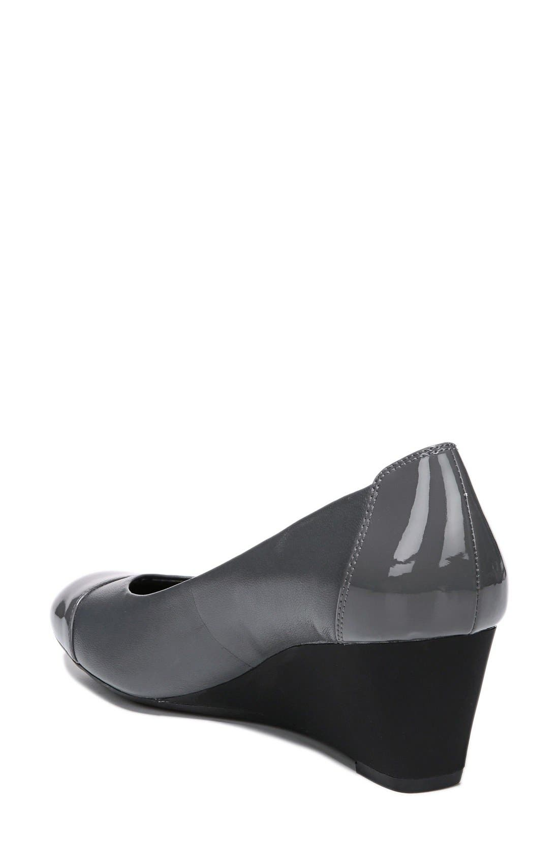 'Necile' Wedge Pump,                             Alternate thumbnail 2, color,                             Graphite Leather