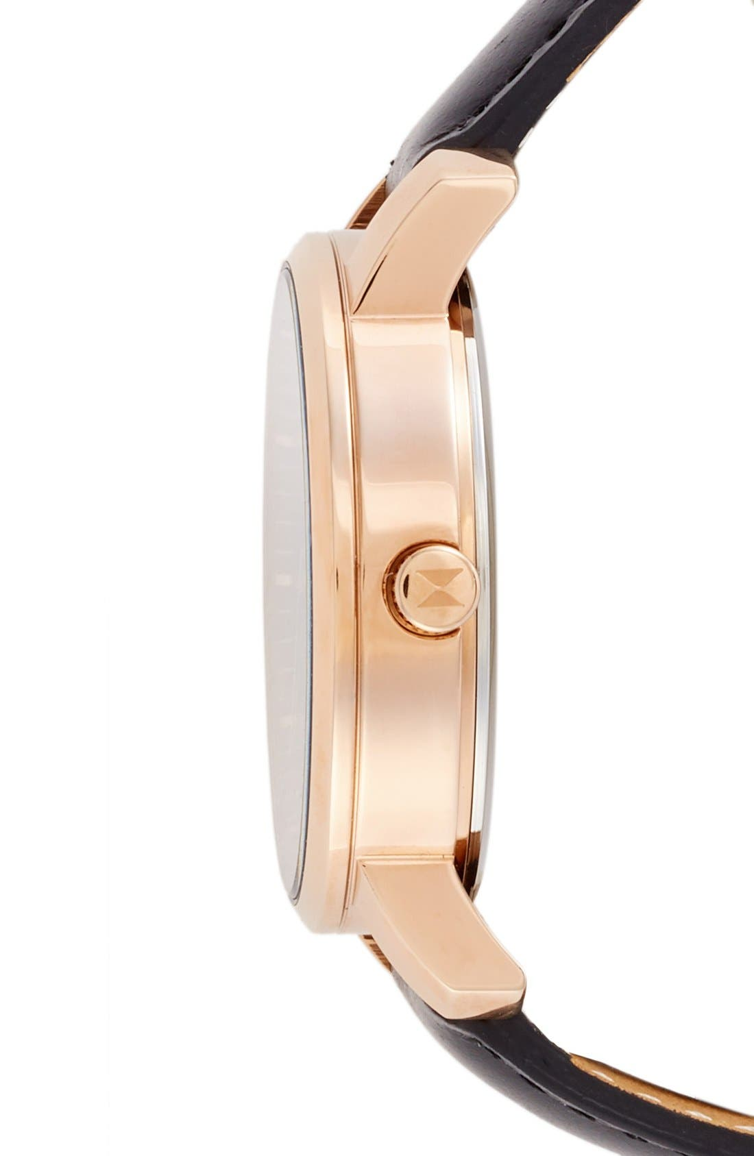 Leather Strap Watch, 38mm,                             Alternate thumbnail 3, color,                             Black/ Rose Gold