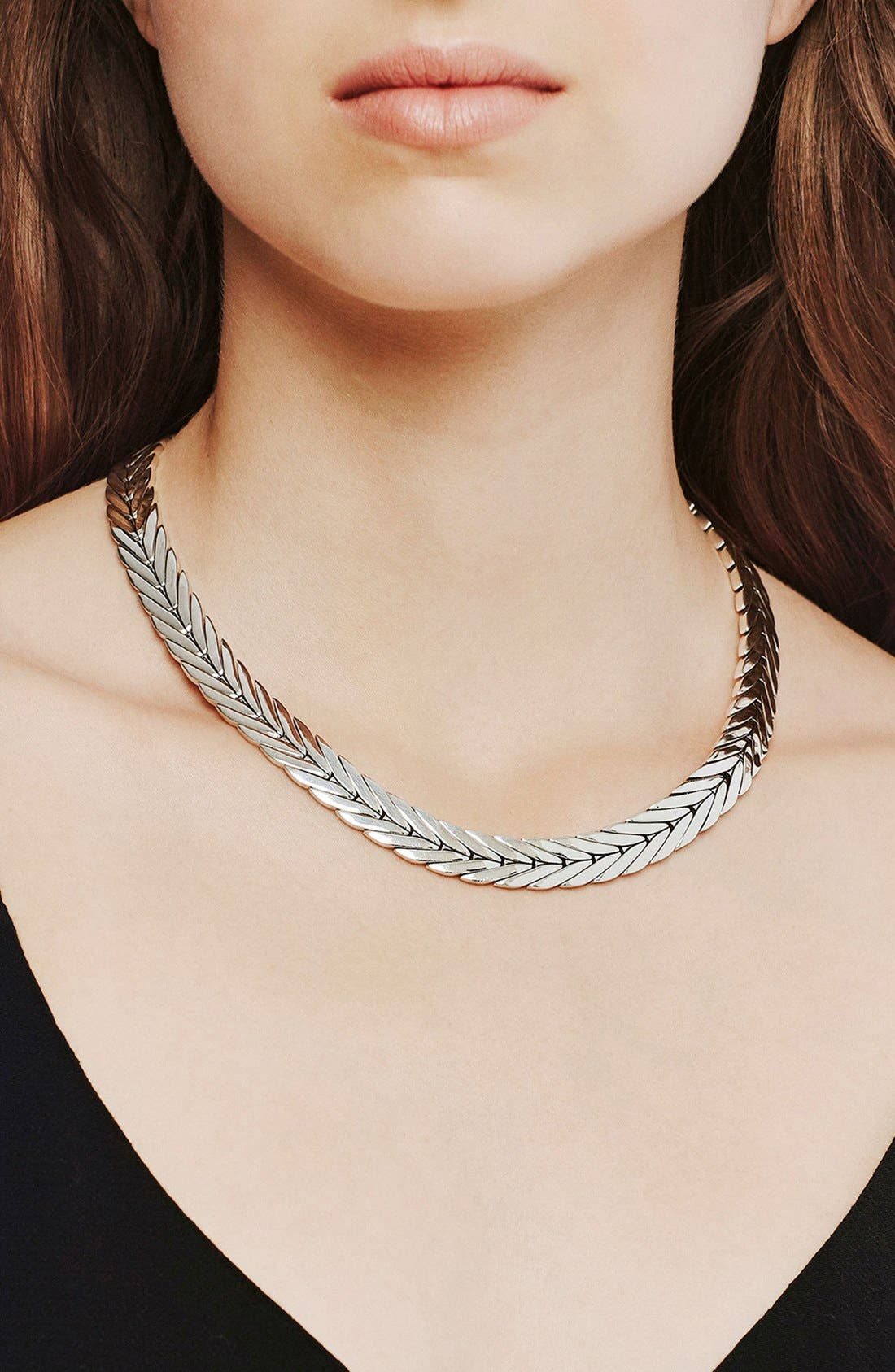 'Classic Chain' Chain Collar Necklace,                             Alternate thumbnail 2, color,                             Silver