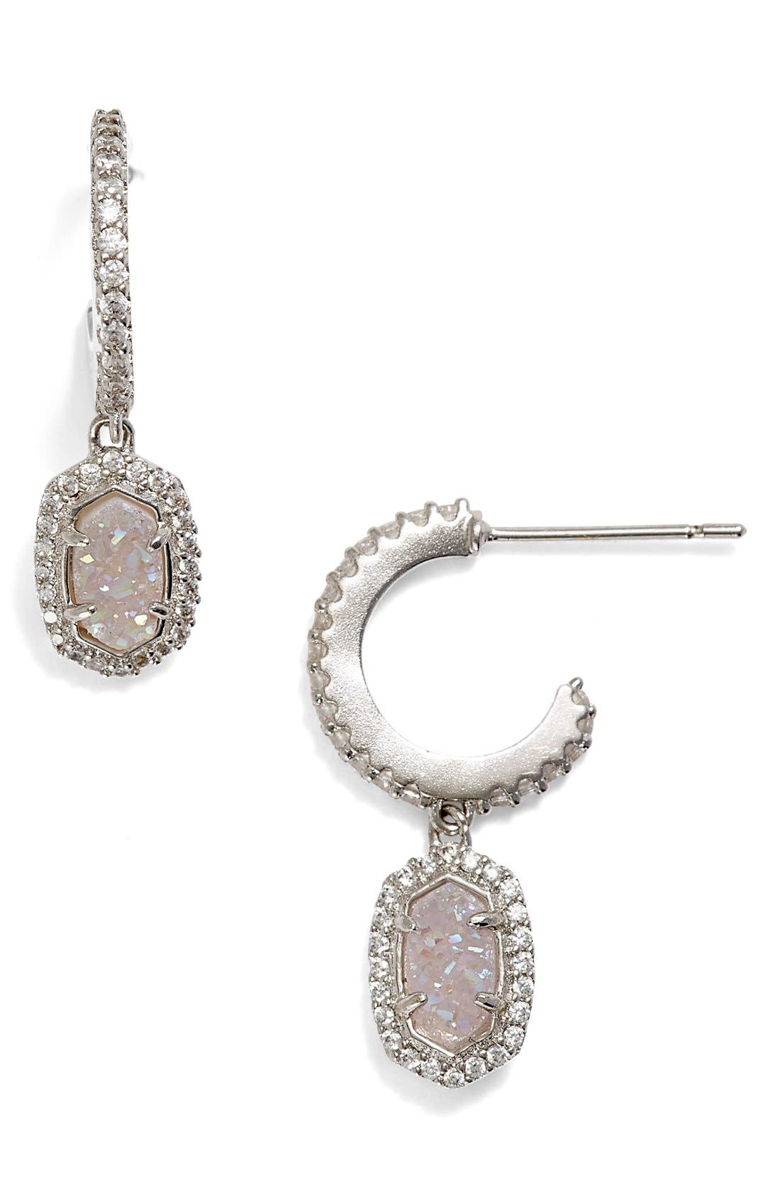 'Cale' Hoop Earrings,                         Main,                         color, Silver Iridescent Drusy