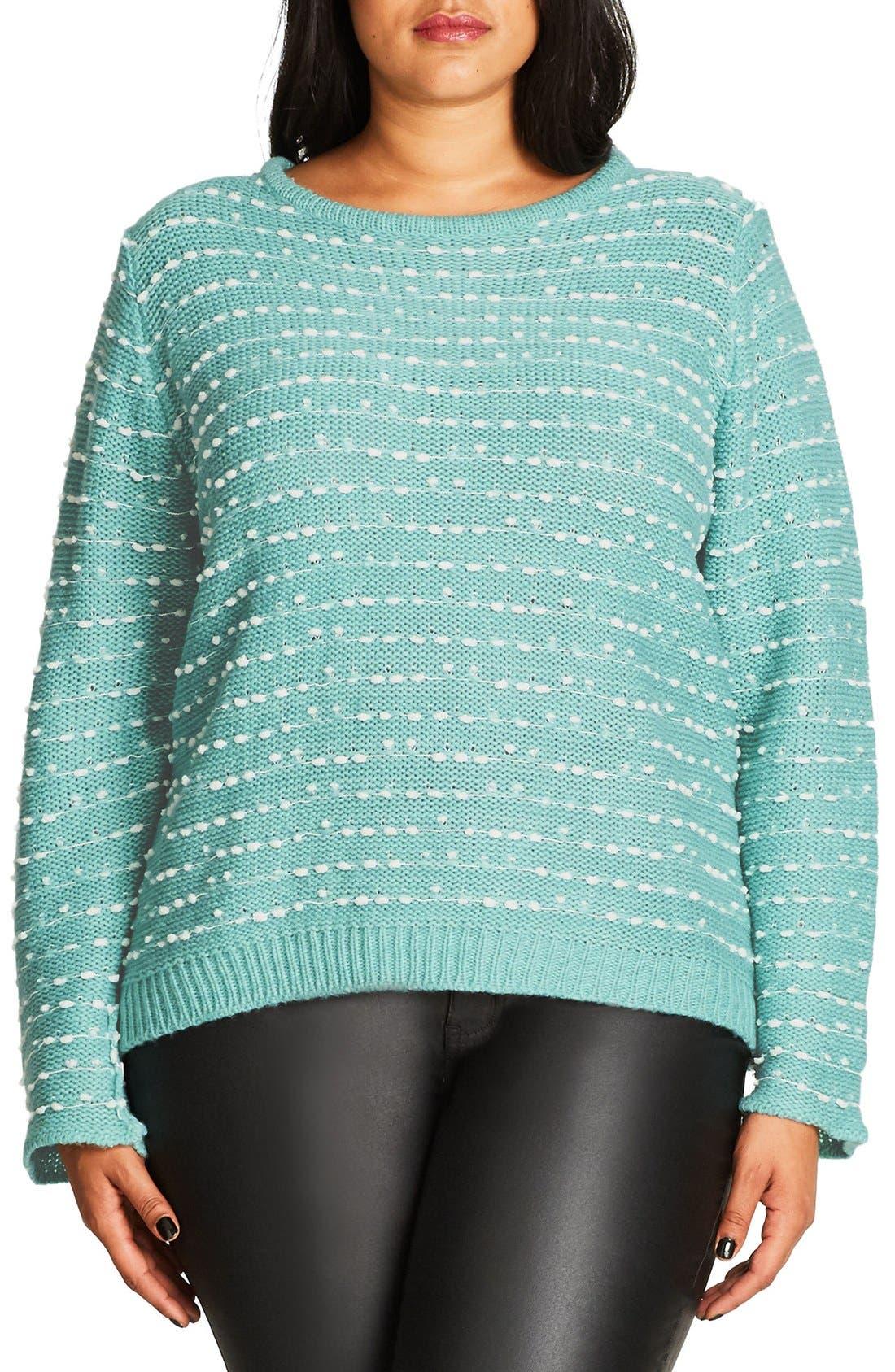City Chic Back Zip Color Pop Sweater (Plus Size)