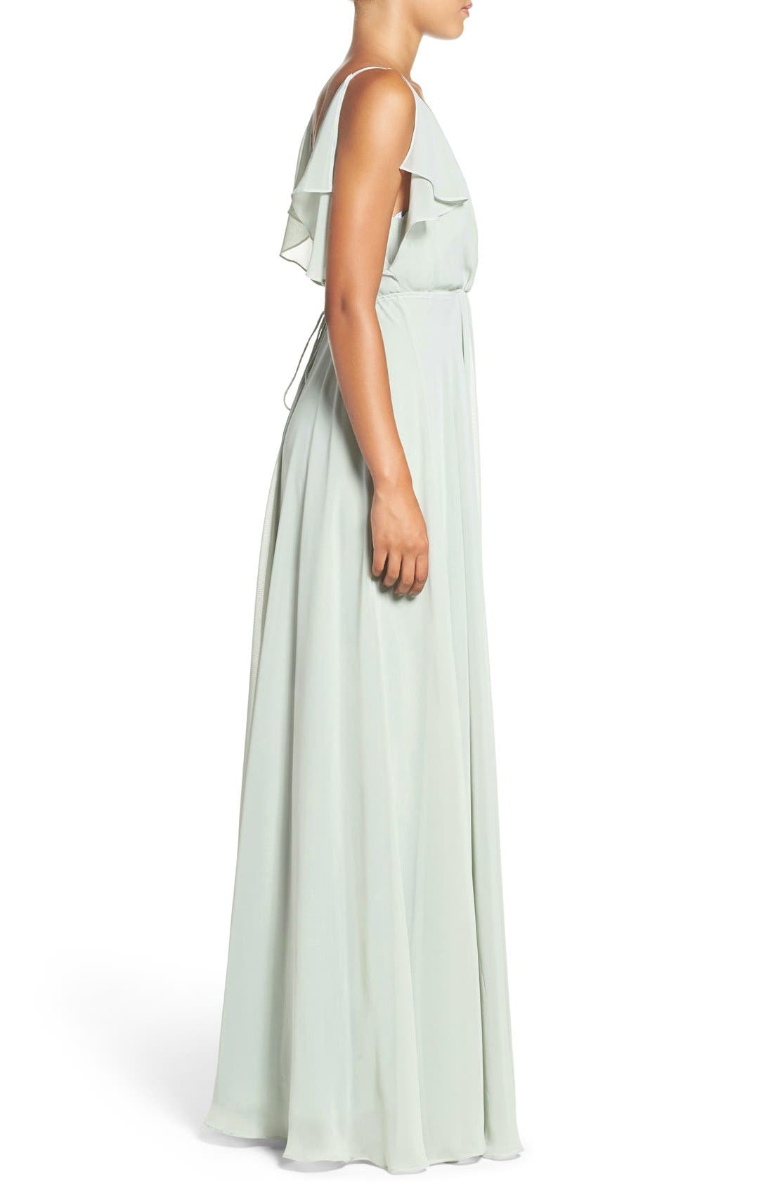 Alternate Image 3  - Jenny Yoo Cassie Flutter Sleeve Chiffon A-Line Gown