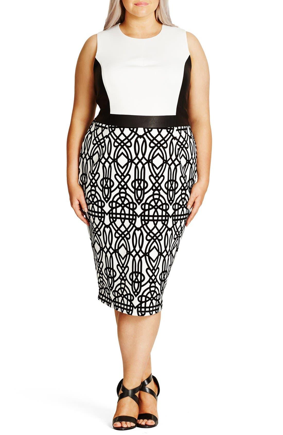 City Chic 'Art Deco' Print Block Sheath Dress (Plus Size)