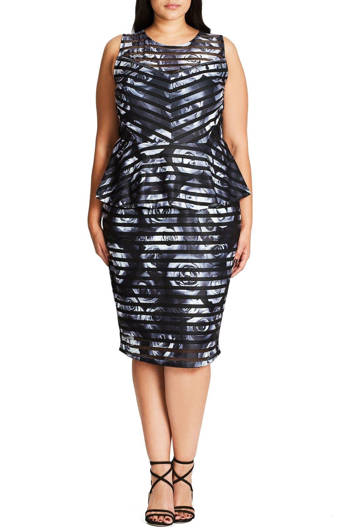City Chic 'Peplum Rose' Sheath Dress (Plus Size)