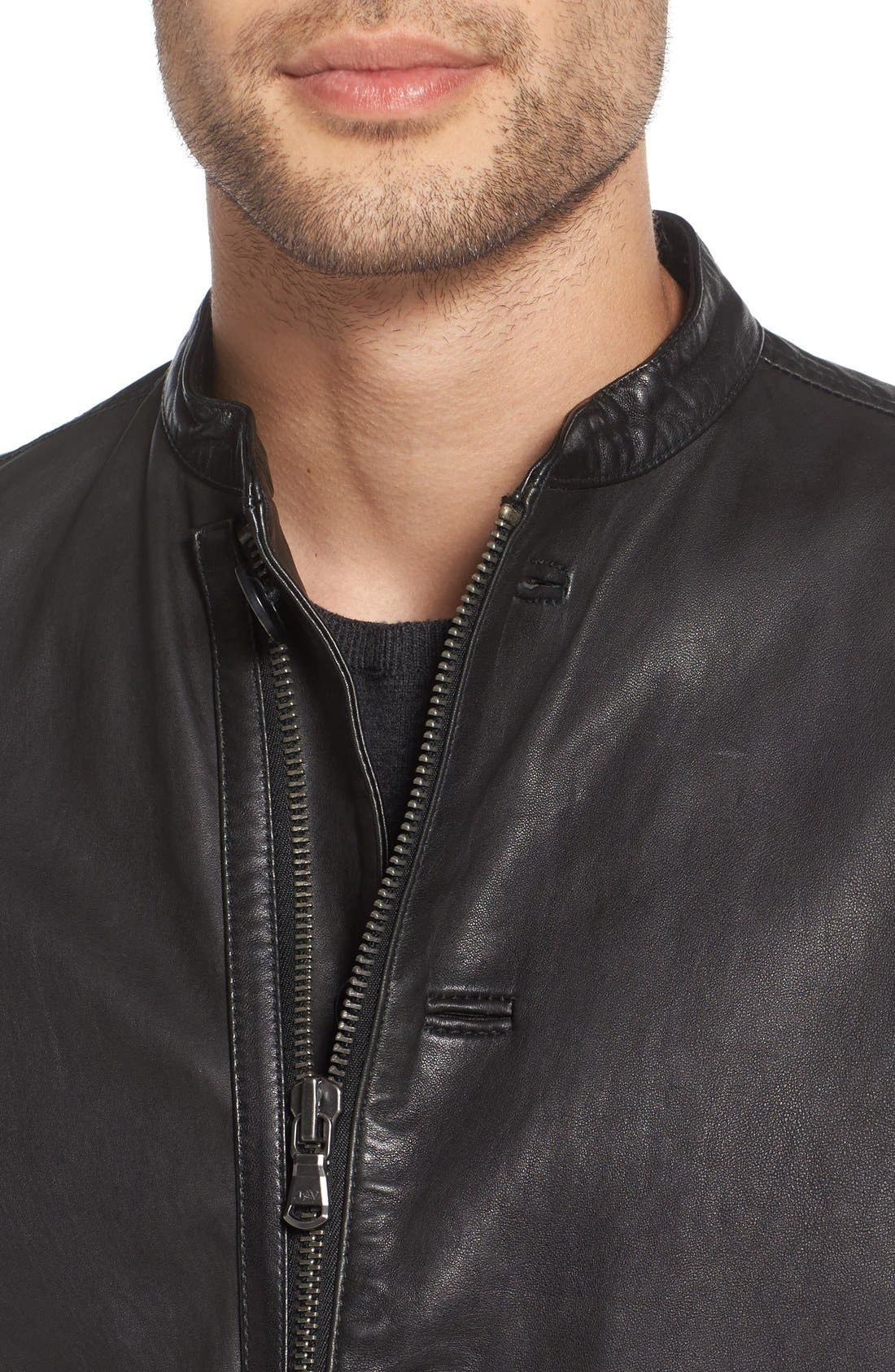 Alternate Image 4  - John Varvatos Star USA Black Leather Racer Jacket