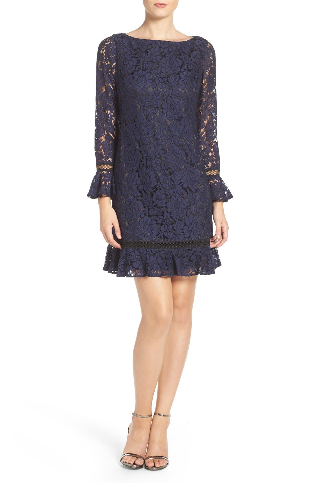 Lace Shift Dress,                             Alternate thumbnail 2, color,                             Navy