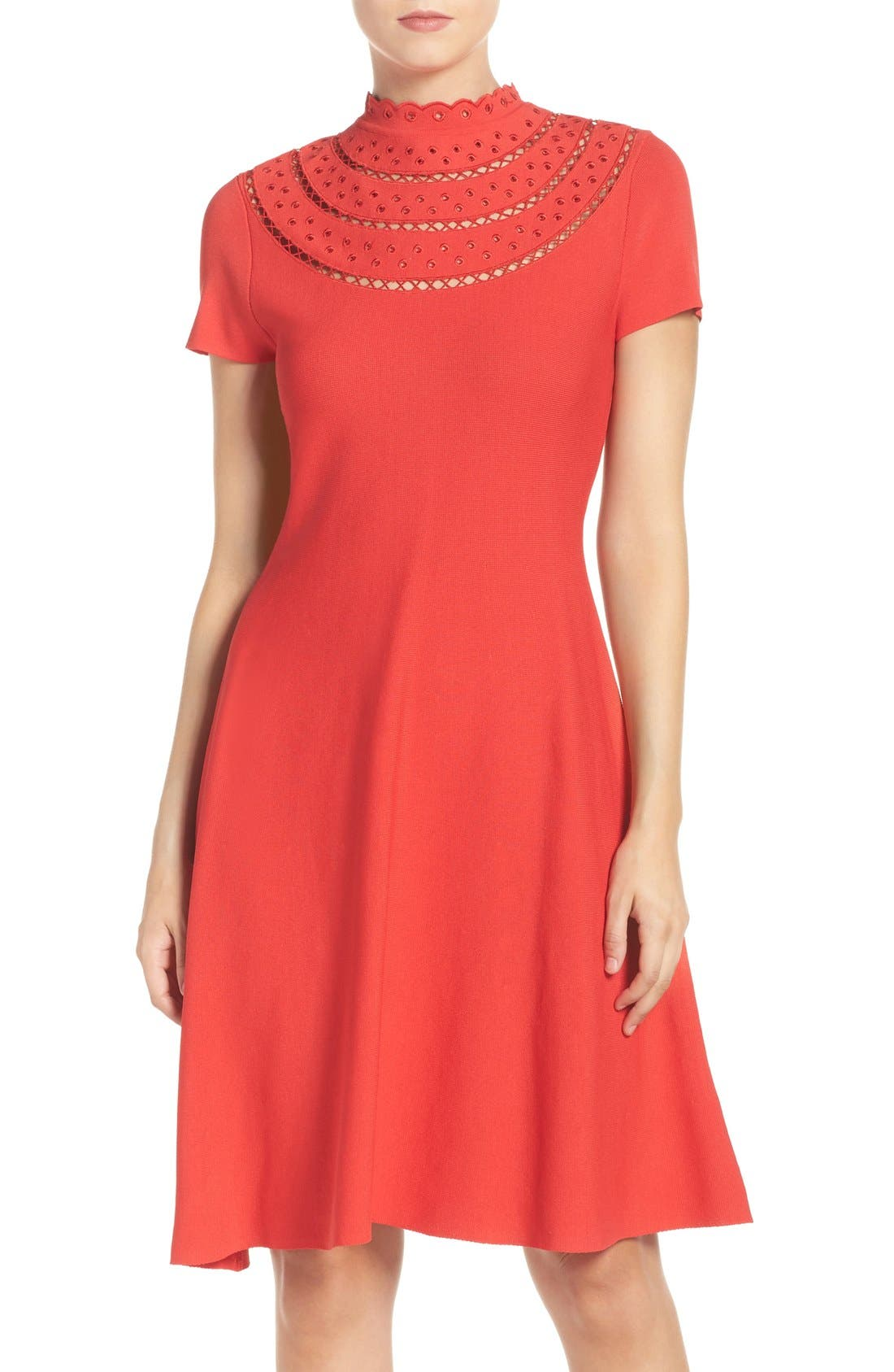 Cutout Fit & Flare Dress,                         Main,                         color, Poppy