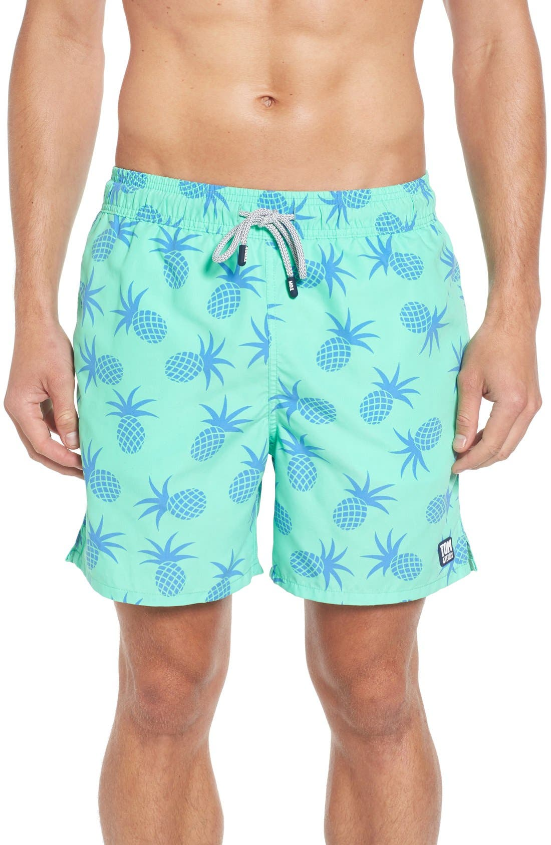 Pineapple Print Swim Trunks,                             Main thumbnail 1, color,                             Jade Green