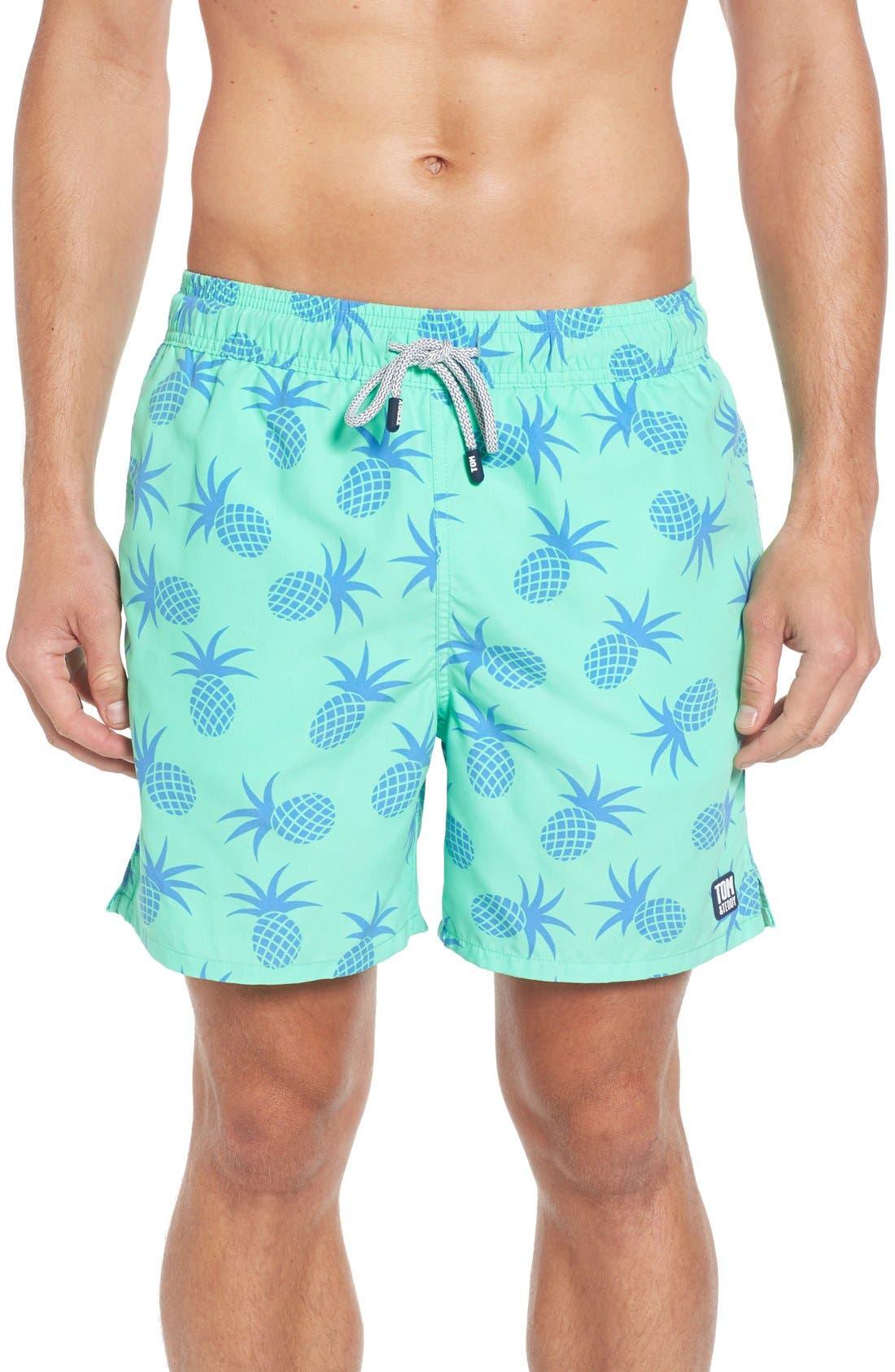 Pineapple Print Swim Trunks,                         Main,                         color, Jade Green