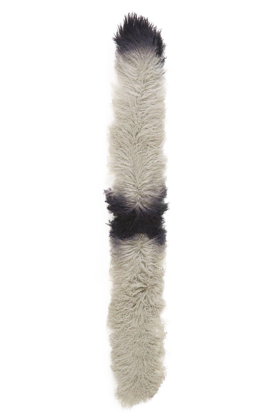 Genuine Mongolian Lamb Fur Scarf,                             Alternate thumbnail 2, color,                             Ombre Grey/ Black