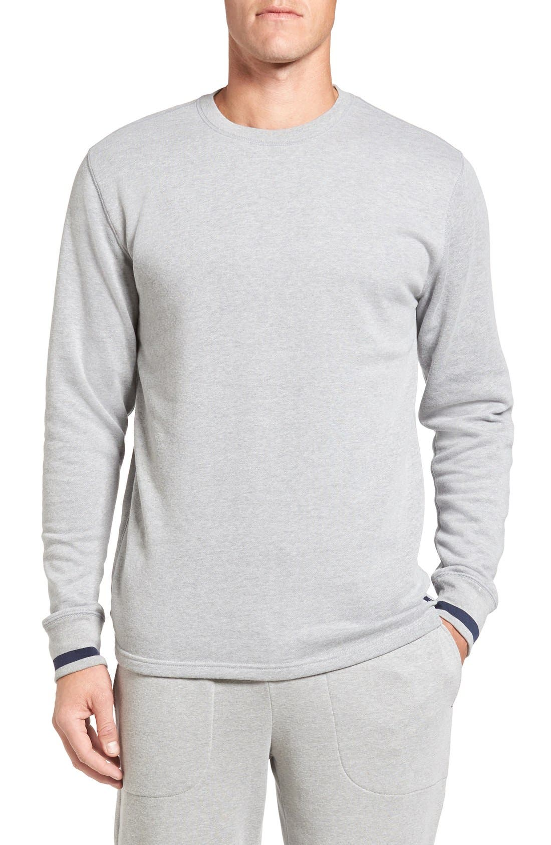 Brushed Jersey Cotton Blend Crewneck Sweatshirt,                         Main,                         color, Andover Heather Grey