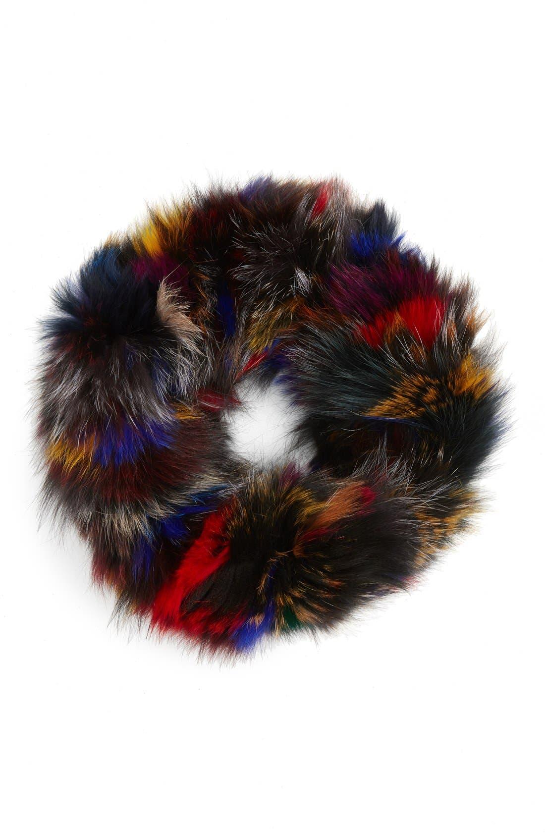 Genuine Fox Fur Infinity Scarf,                         Main,                         color, Multi/ Black