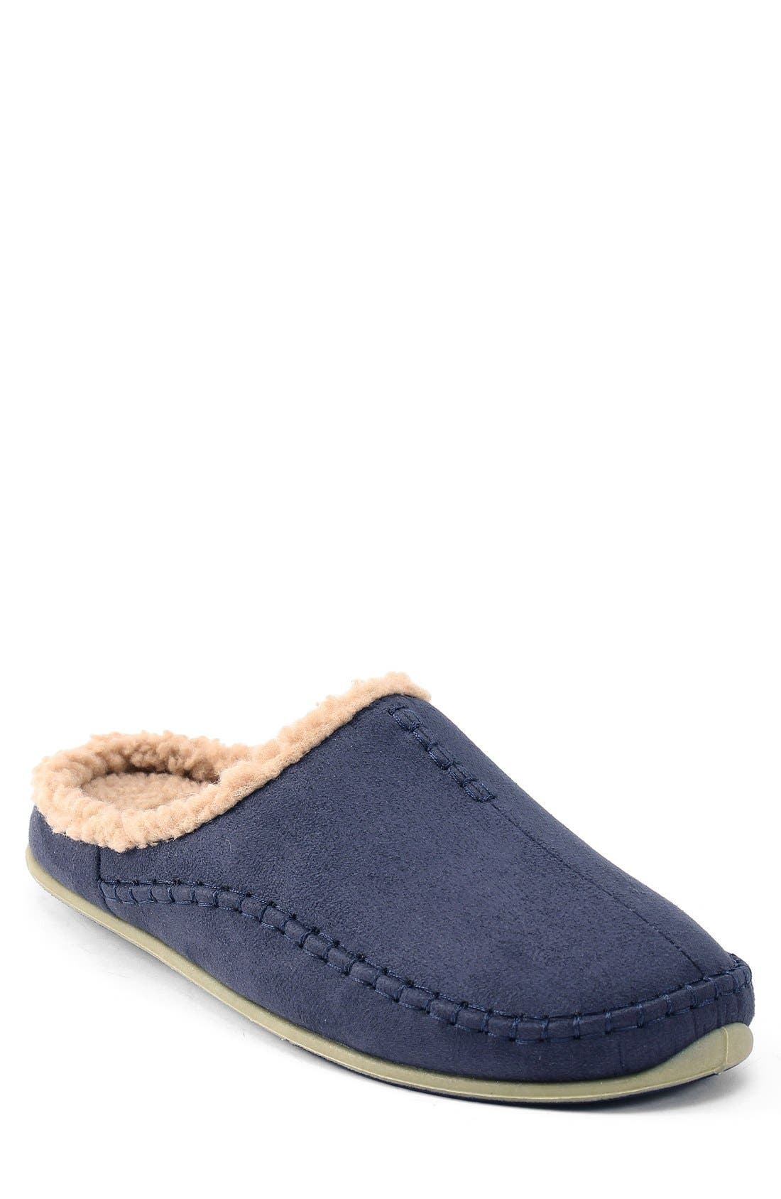'Nordic' Slipper,                             Main thumbnail 1, color,                             Navy Microsuede