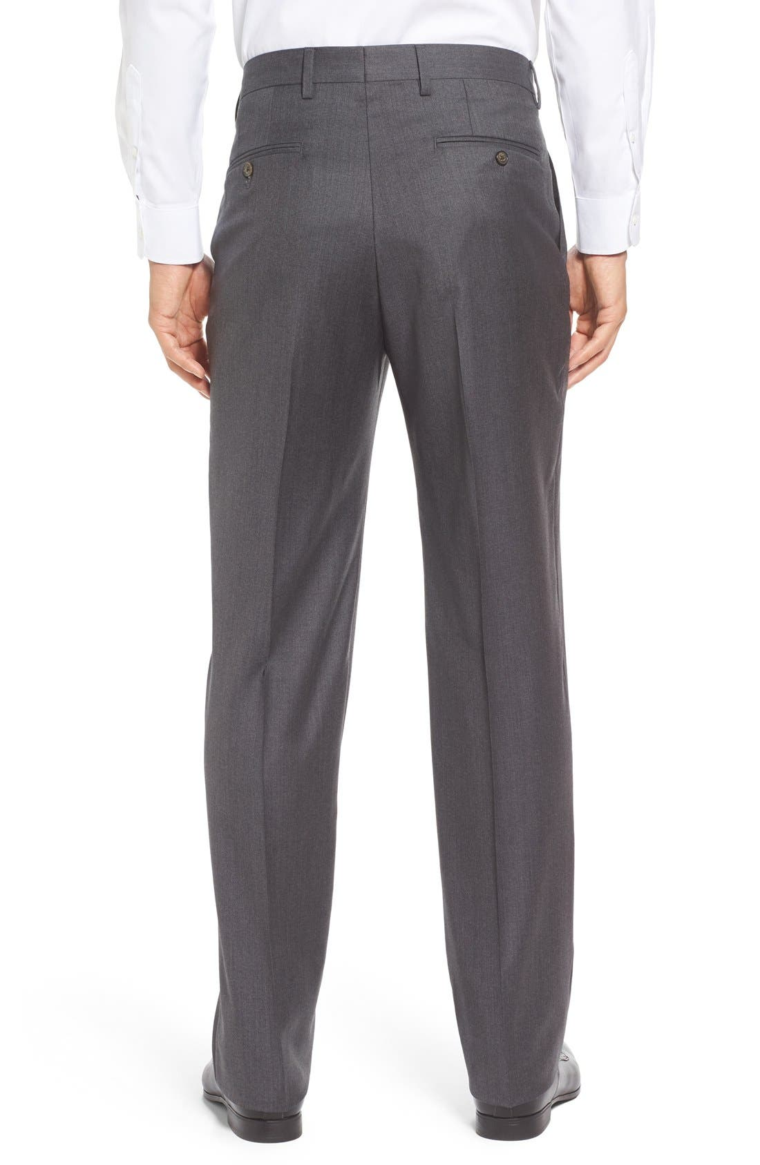 Flat Front Solid Wool Trousers,                             Alternate thumbnail 3, color,                             Medium Grey