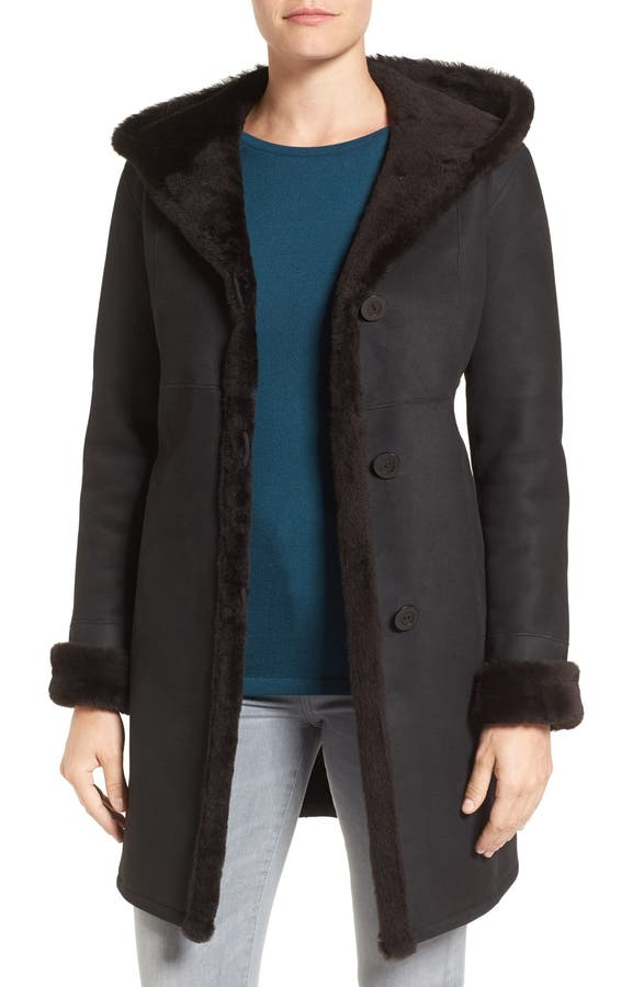 Blue Duck Fitted Genuine Shearling Coat (Regular & Petite) | Nordstrom