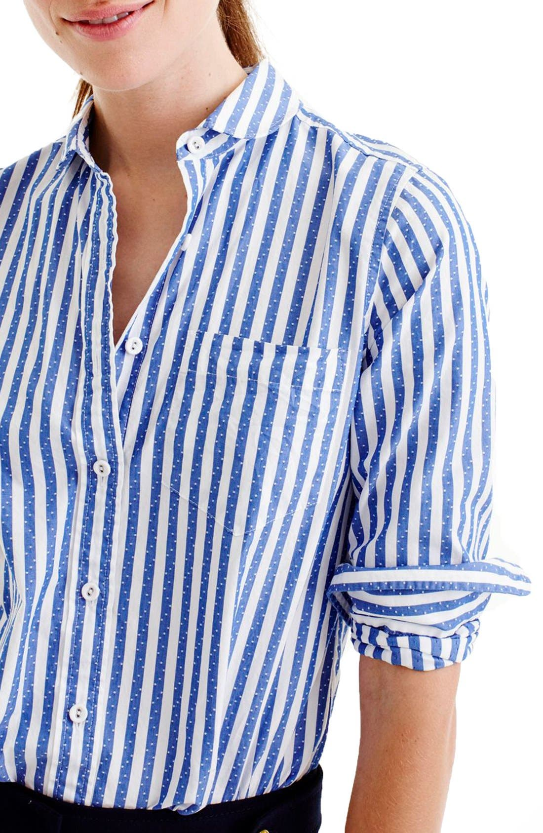 Alternate Image 3  - J.Crew Club Collar Jacquard Stripe Boy Shirt (Regular & Petite)