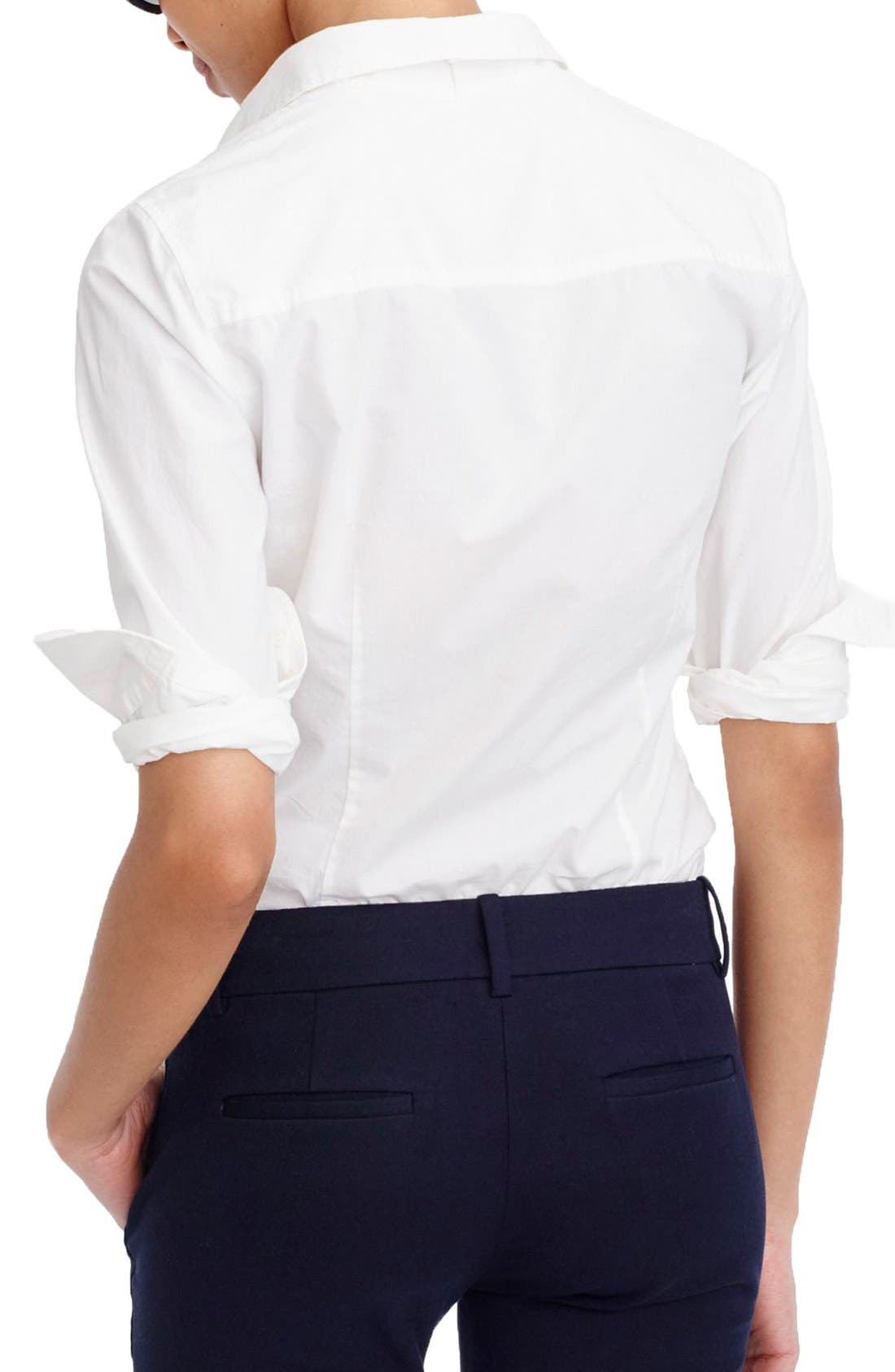 J.Crew New Perfect Cotton Poplin Shirt,                             Alternate thumbnail 3, color,                             White