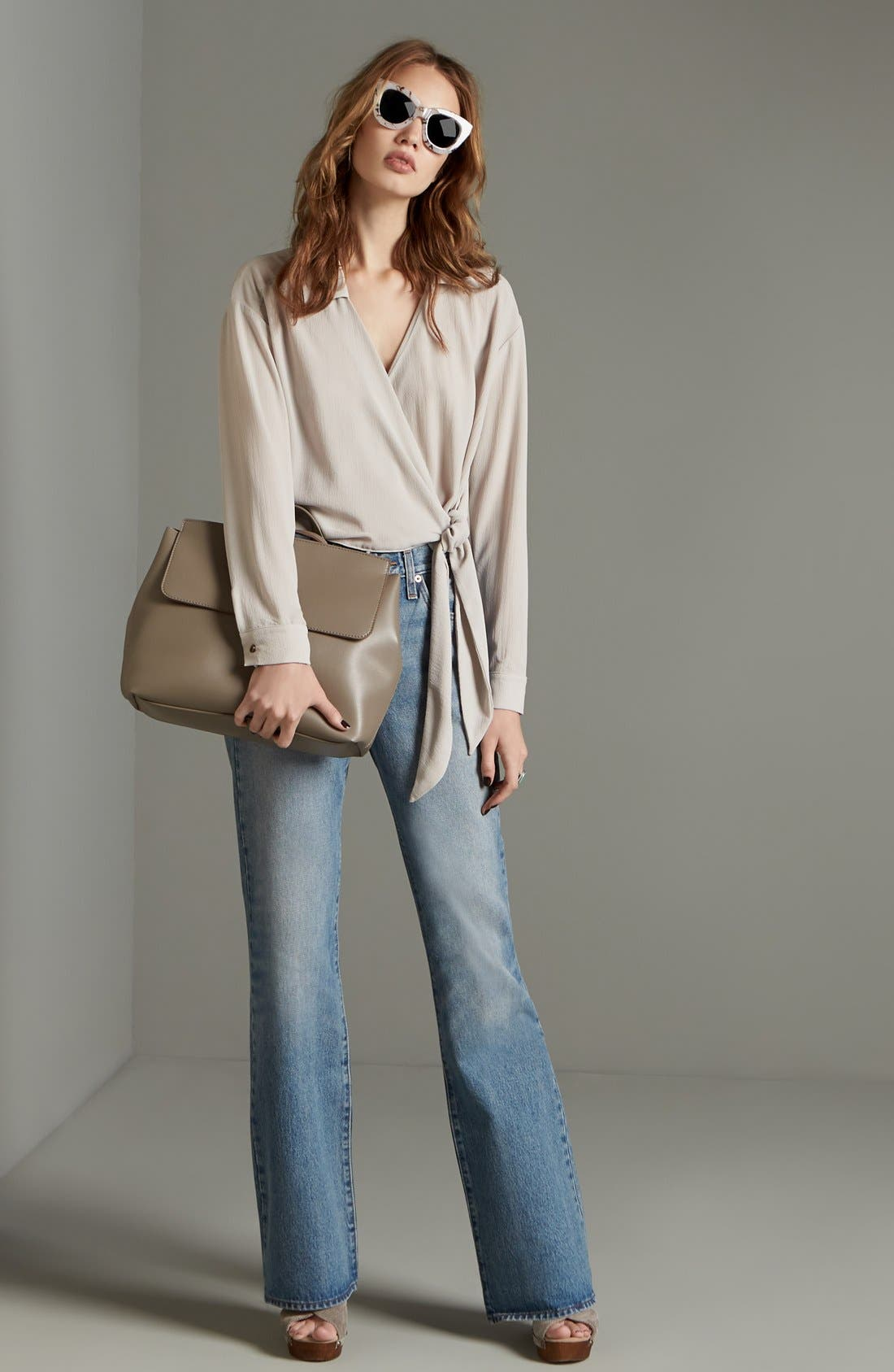 'Minimal Flap' Faux Leather Backpack,                             Alternate thumbnail 2, color,                             Taupe