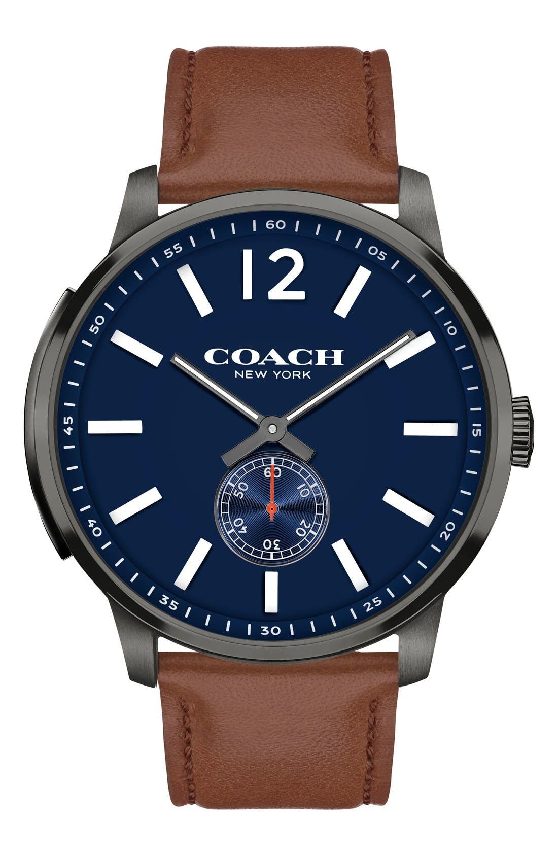 COACH Bleeker Leather Strap Watch, 46mm