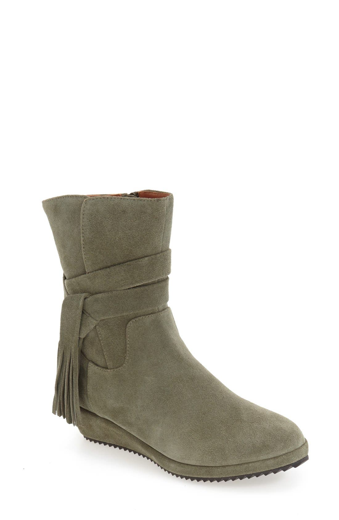 'Bernyce' Boot,                             Main thumbnail 1, color,                             Olive Suede Leather