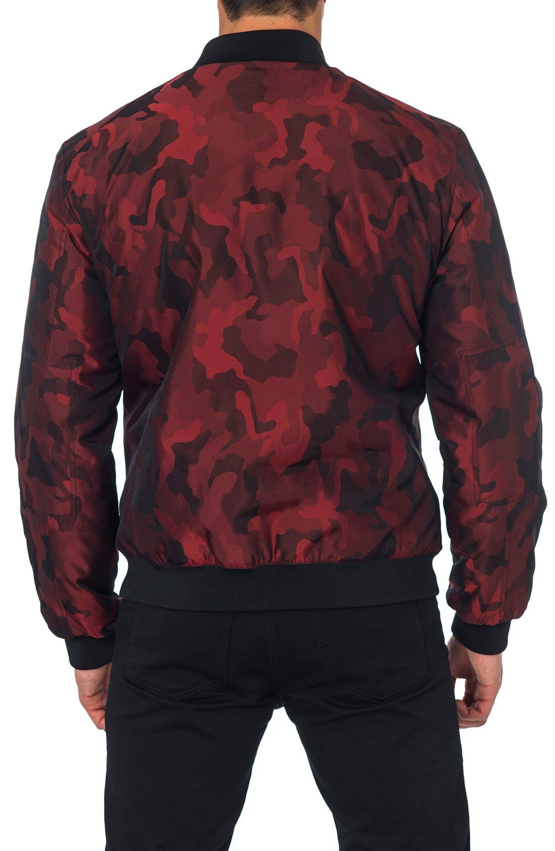 New York Reversible Bomber Jacket,                             Alternate thumbnail 2, color,                             Red Camo/ Black Quilted