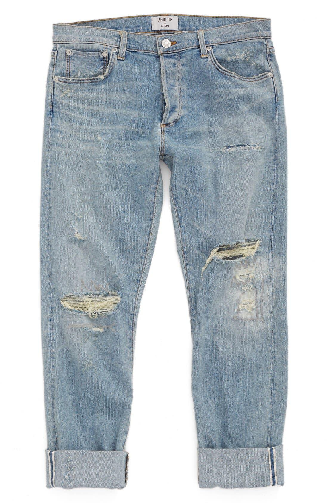 Alternate Image 1 Selected - AGOLDE Skinny Fit Distressed Jeans (Pixx) (Men)