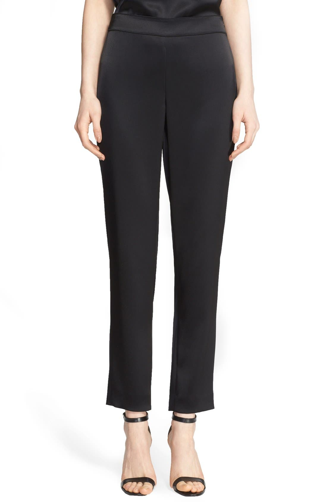 Emma Satin Ankle Pants,                             Main thumbnail 1, color,                             Caviar