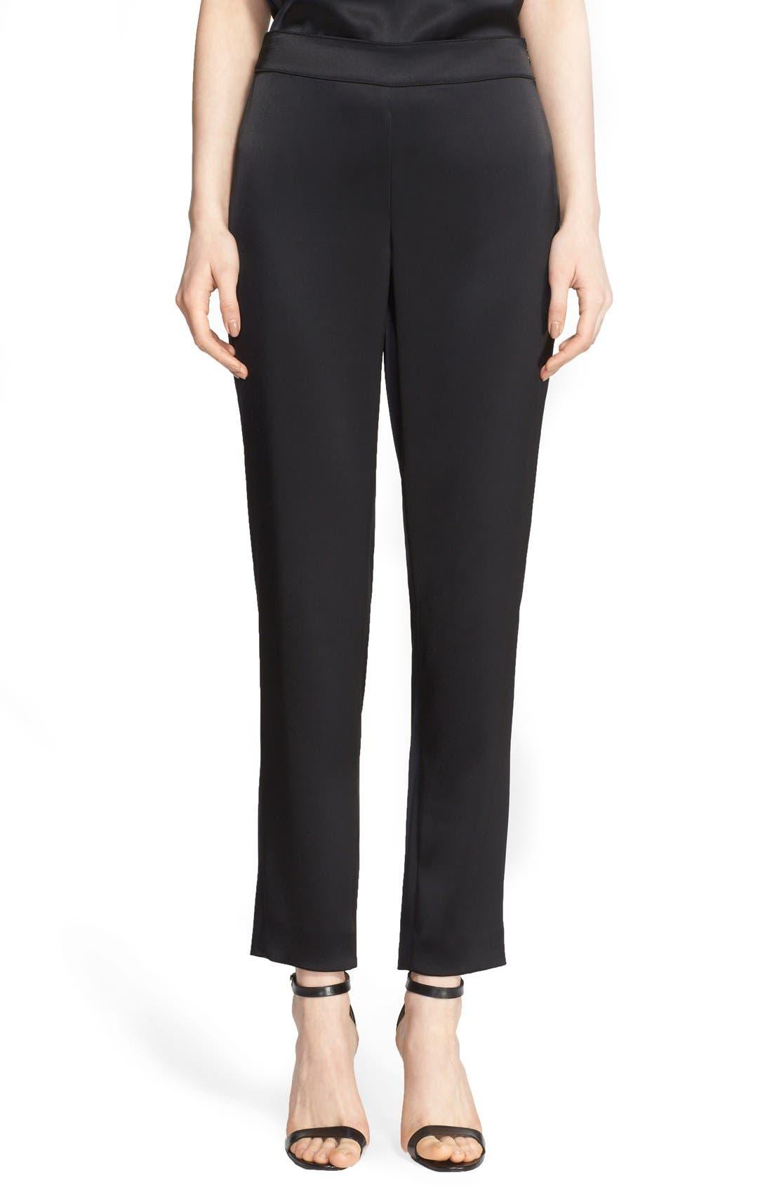 Emma Satin Ankle Pants,                         Main,                         color, Caviar