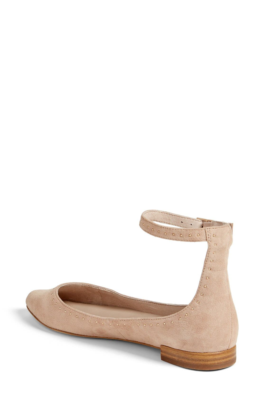 Afra Ankle Strap Ballet Flat,                             Alternate thumbnail 2, color,                             Mushroom