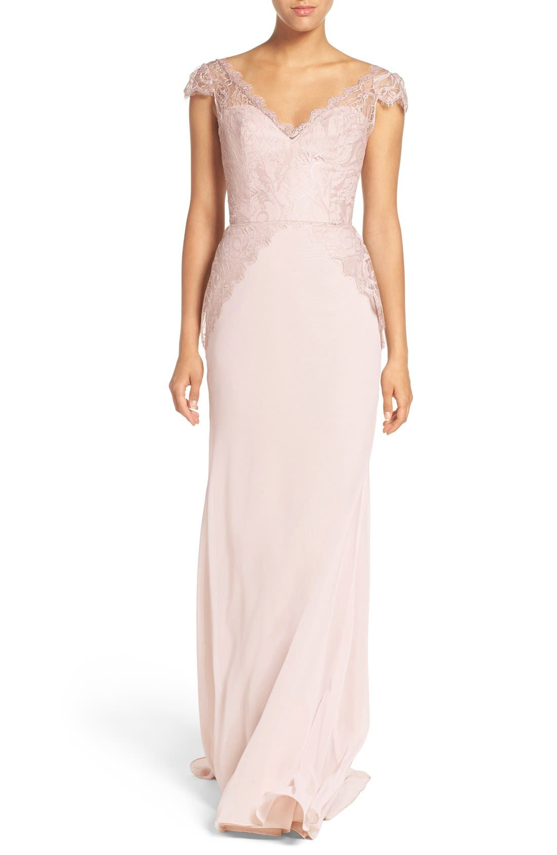 Cap Sleeve Lace & Chiffon Trumpet Gown,                             Main thumbnail 1, color,                             Rose/ Blush/ Cashmere