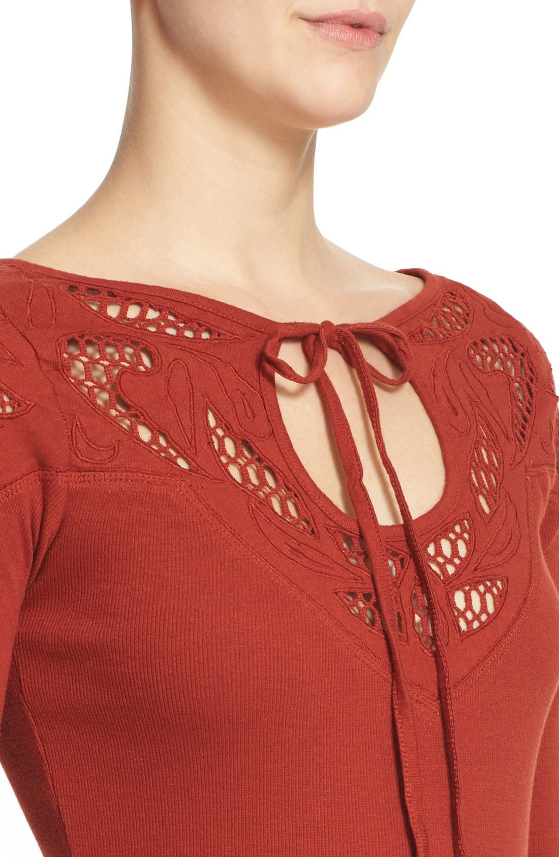 Alternate Image 4  - Free People With Love Tie Neck Thermal Tee
