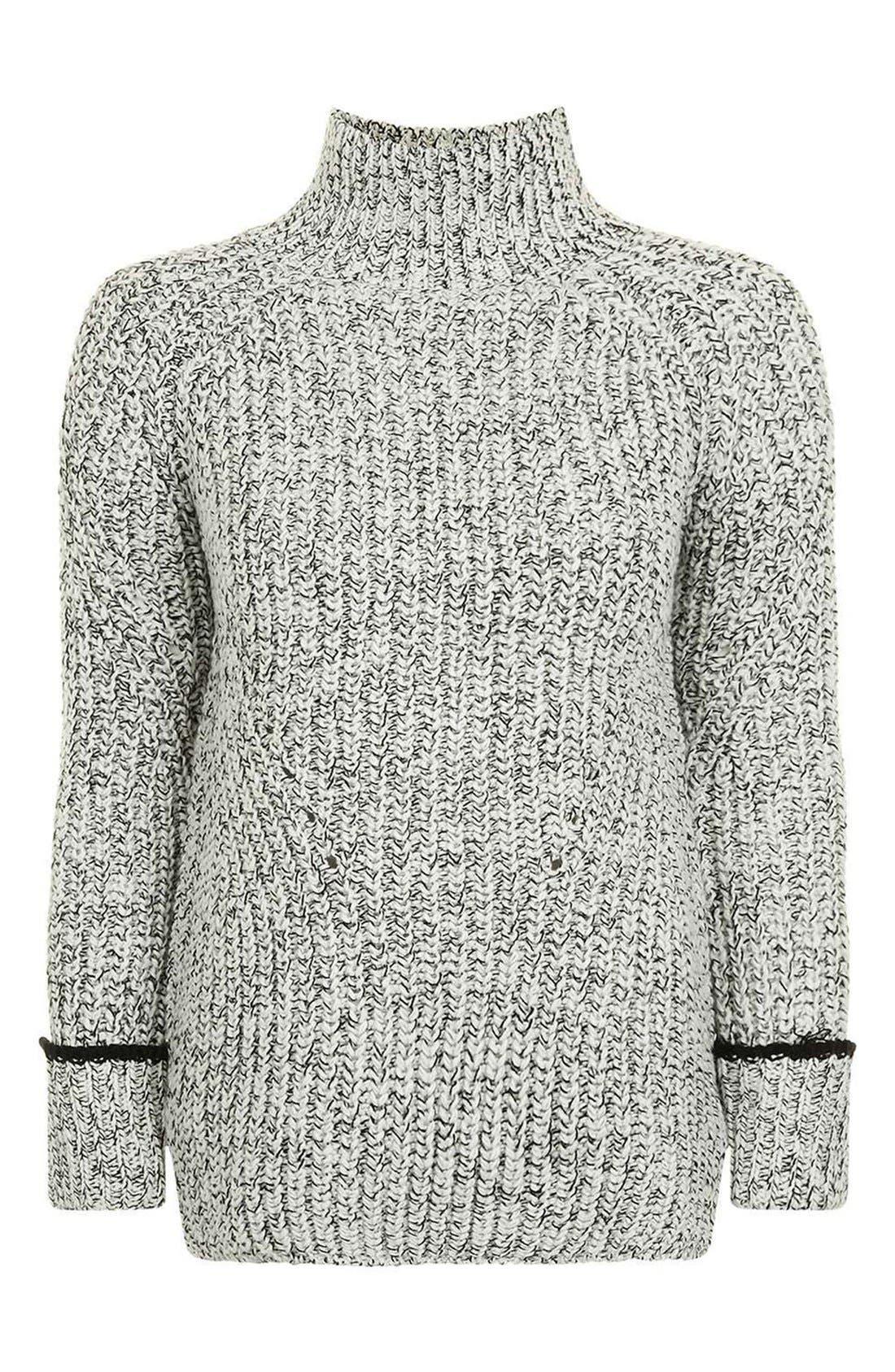 Alternate Image 4  - Topshop Stripe Cuff Funnel Neck Sweater