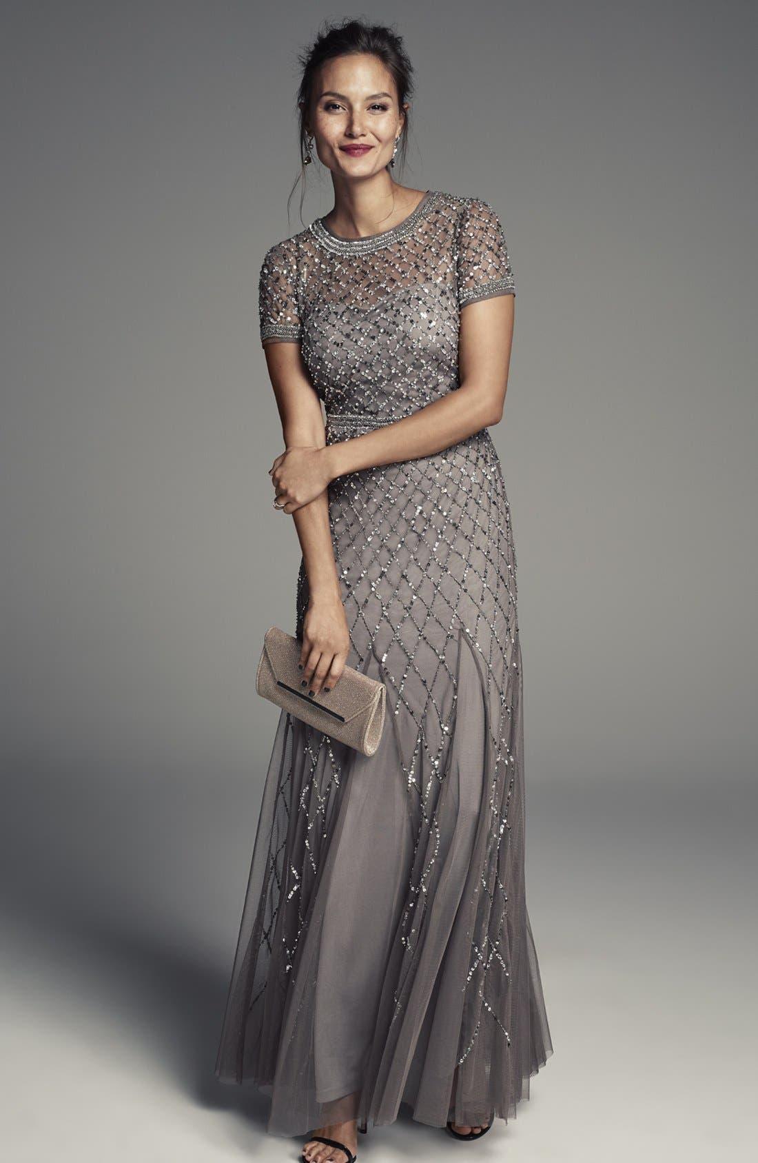 Alternate Image 7  - Adrianna Papell Beaded Mesh Gown (Regular & Petite)