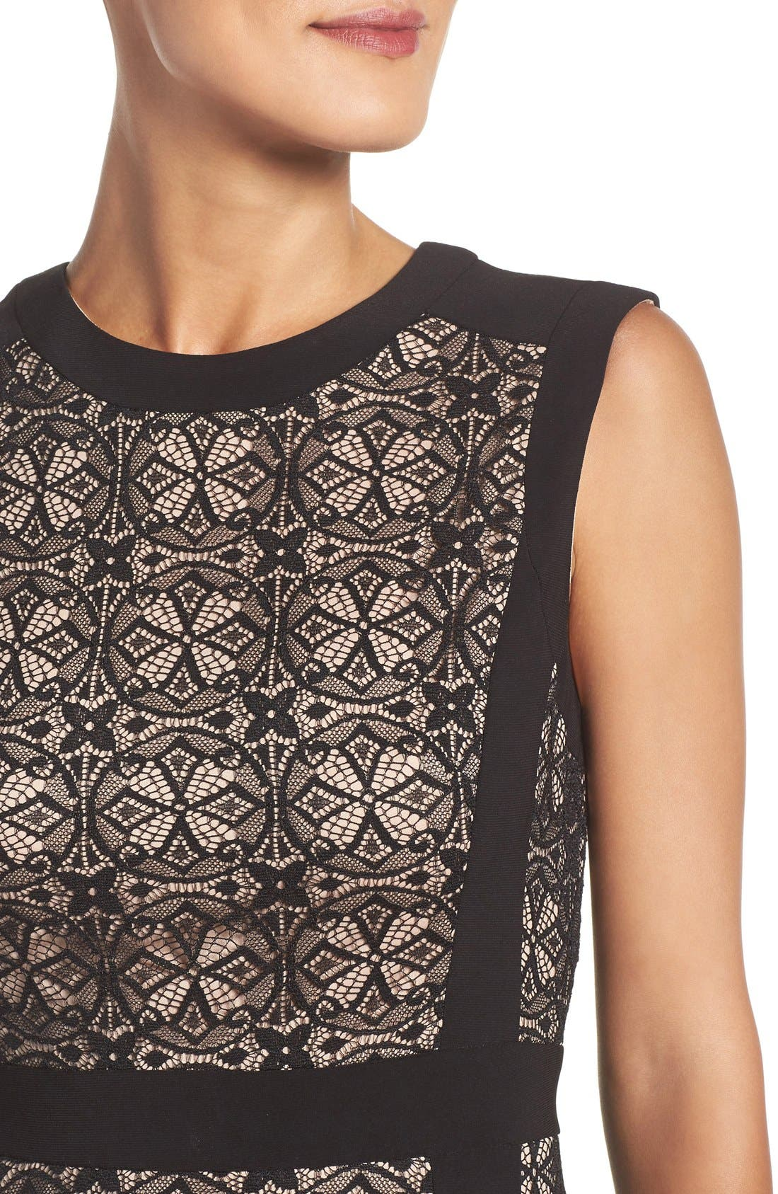 Lace Fit & Flare Dress,                             Alternate thumbnail 5, color,                             Black